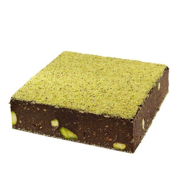 Brownie crudista con pistacchio e cioccolato crudo