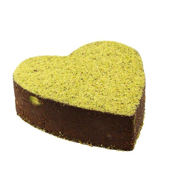 Cuore Brownie al pistacchio e cioccolato crudo