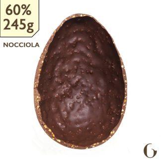 Uovo di cioccolato crudo bio 60%con granella di nocciole