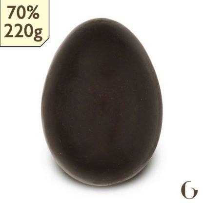 Uovo di Pasqua di cioccolato crudo bio da 220g - 70% senza zucchero